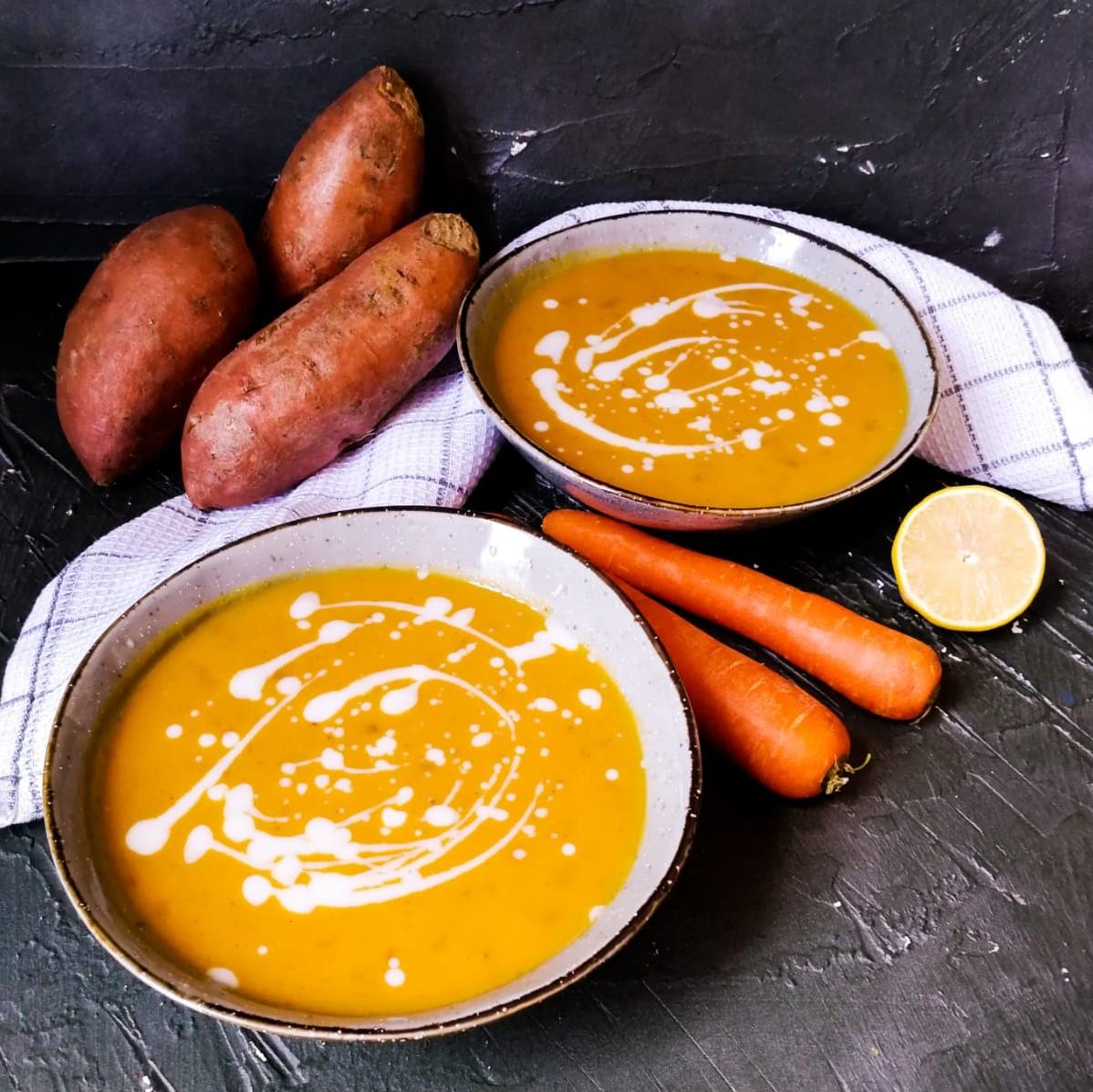 Zoeteaardappelsoep met wortel, gember en citroen