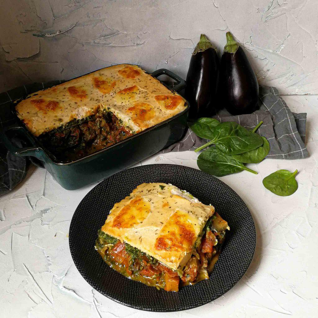 Vega lasagne met courgette, spinazie, aubergine en ricotta
